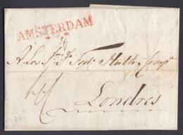 """Pays-Bas 1820 - Précurseur """"Amsterdam """"vers Londres (6G24546) DC0885 - ...-1852 Préphilatélie"""