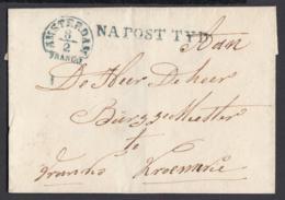 """Pays-Bas 1844 - Précurseur """"Amsterdam Franco """" + NA POST TYD En Bleu (6G24546) DC0886 - ...-1852 Préphilatélie"""
