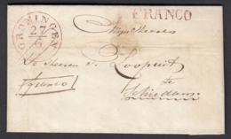 """Pays-Bas 1843 - Précurseur """"GRONINGEN """" FRANCO En Rouge Vers Shiedam (6G24546) DC0898 - ...-1852 Préphilatélie"""