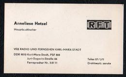 B9993 - TOP Visitenkarte - RFT - VEB Radio Und Fernsehen Karl Marx Stadt - Visitenkarten