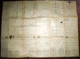 POLE NORD CHARCOT LE POURQUOI PAS GRANDE MAQUETTE PLAN DU TROIS MATS EXPOSE AU MUSEE DE LA MARINE - Historical Documents