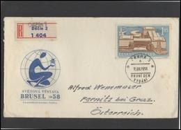 CZECHOSLOVAKIA Brief Postal History Envelope CS 351 Brussels World Exhibition 1958 - Tchécoslovaquie