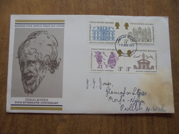 S072: FDC: INIGO JONES - FOUR HUNDREDTH ANNIVERSARY. 2 X 3p & 2 X 5p Stamps. 15 AUG 1973 First Day Of Issue. - FDC