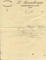 77 GUIGNES - Transports P. BONNEHORGNE - Lettre De 1913 - Frankreich