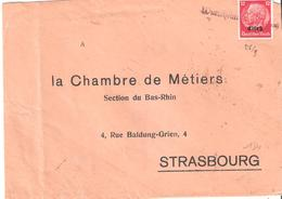 Timbre D'Alsace Lorraine N°14 Oblitéré Griffe Linéaire à Identifier - Alsace Lorraine