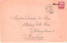 Timbre D'Alsace Lorraine N°14 Oblitéré Griffe Linéaire à Identifier - Elsass-Lothringen