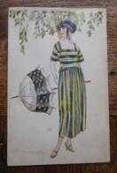 Carte Illustrée Par Bompard 1920 Femme Avec Ombrelle  Art Déco - Bompard, S.