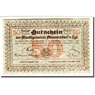 Billet, Autriche, Mannersdorf N.Ö. Marktgemeinde, 50 Heller, Paysage 2, 1920 - Oesterreich
