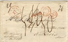 """Herout Et De Handel - De New York Au Havre - Arrivée Le 11 Nov 1847 """" 1 LE HAVRE 1 / PAQ.REG. Rouge  """" Missouri """" - Poste Maritime"""