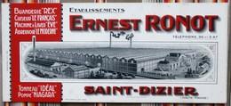 Ancien Buvard D'Ecole PUBLICITAIRE ERNEST RONOT 52 Saint Dizier - Autres
