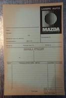 RARE FICHE INTERVENTION RÉPARATION AUTOMOBILE VIERGE AVEC PUBLICITÉS MAZDA ILLUSTRATION LAMPE MAZDA - Advertising
