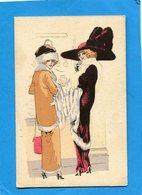 MODE -Féminine-l'élégance En 1920-illustrée Mode Paris  Fourrures Et Grands Chapeaux Sur 2 élégantes - Mode