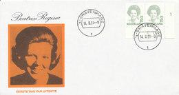 DC-1541 - FDC NEDERLAND 1991 - KONINGIN BEATRIX - 75 CENT - HOR. PAAR MET VELRANDBIJZ. - FDC