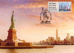 UK / GRANDE BRETAGNE (2016) - Carte Maximum Card ATM Post&Go - World Stamp Show NY2016 New York - The Statue Of Liberty - Maximumkarten (MC)