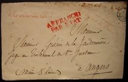1829 Service Du Roi , Intendant Général De La Maison Du Roi Affranchi Par L'état, Cachet à L'arrière  Lettre Pour Angers - Marcofilia (sobres)