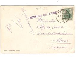 JS659/ CP Montjoie Kirche C.Monschau 1919 V.Mons Griffe Mauve Censure Militaire - Army: Belgium