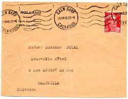 CALVADOS - Dépt N° 14 = CAEN GARE 1949 = FLAMME KRAG Muette '5 Lignes Ondulées' Sur Enveloppe - Postmark Collection (Covers)