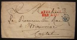 1828 Ministère Des Finances, Marque Noire + Affranchi Par L'état En Rouge Et Marque Dans Un Losange Lettre Pour Mauriac - 1801-1848: Précurseurs XIX