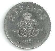 MONACO - 2 FRANCS 1981 - RAINIER III PRINCE DE MONACO - Monaco