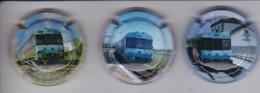 LOTE DE 3 PLACAS DE CAVA TERRAFERMA DE TRENES (CAPSULE) TREN-TRAIN-ZUG - Mousseux