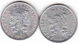 Tschechoslowakei - Tchécoslovaquie 2 X 1 Halier, Haler 1953 + 1954 - Tschechoslowakei