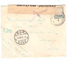 JS664/ TP 141 S/L.c.PMB-BLP 4 1917 Bande Censure Militaire 126 Via PMB-BLP 7 V.Suisse C.d'arrivée - Army: Belgium