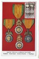 Carte Maximum 1952 Quatre Types De La Médaille De Militaire - Cartes-Maximum