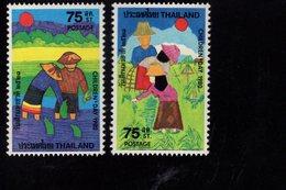 675498517 THAILAND 1980  POSTFRIS MINT NEVER HINGED POSTFRISCH EINWANDFREI SCOTT 909 910 CHILDRENS DAY - Thaïlande