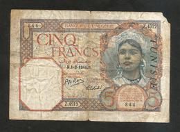 TUNISIE - BANQUE De L' ALGERIE - 5 Francs ( B 1 - 2 - 1942 ) / OVERPRINT - Tunisie