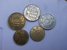 Monaco 5 Pieces De 1949 Louis II à 1978 Rainier Lot   TTB - Monaco