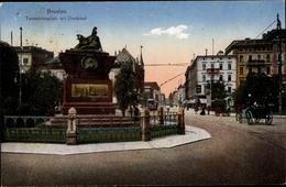 Cp Wrocław Breslau Schlesien, Partie Auf Dem Tauentzienplatz Mit Denkmal, Kutsche - Schlesien