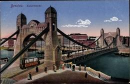Cp Wrocław Breslau Schlesien, Blick über Die Kaiserbrücke, Straßenbahn - Schlesien