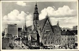 Cp Wrocław Breslau Schlesien, Straßenpartie Mit Blick Auf Das Rathaus, Straßenbahn - Schlesien