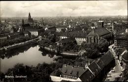 Cp Wrocław Breslau Schlesien, Teilansicht Der Stadt Mit Sandinsel, Kirche - Schlesien