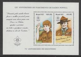 BLOC NEUF DU BRESIL - 125E ANNIVERSAIRE DE LA NAISSANCE DE LORD BADEN POWELL N° Y&T 50 - Scoutisme
