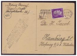 Dt- Reich (006852) KZ Post 1944, 6pf Hitler Aus Karte Von Theresienstadt Nach Hamburg Mit Schwarzen L4 Vom 21.9.1944 - Briefe U. Dokumente