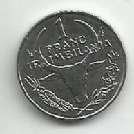 Madagascar 1 Franc 1993. UNC KM#8 - Madagascar