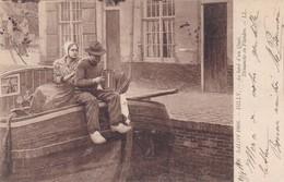 ACCORDEON,,,,AU BORD D' UN  QUAI ,,,DIMANCHE EN  FLANDRE ,,,par  DILLY ,,,, SALON DE 1908 ,,,voyage 1908 - Instruments De Musique