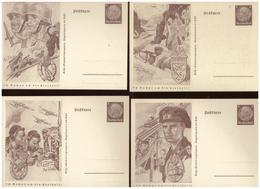 Dt- Reich (006853) Ganzsachen Propaganda PP242 01-08 Komplette Serie, Tag Der Briefmarke, KDF Sammlergruppe, Ungebraucht - Ganzsachen