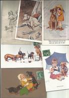 Lot Fantaisies Theme  Chiens,,6 Cpa, Voir Scann :( Tout Frais 1,40 Euros En + ) - Chiens