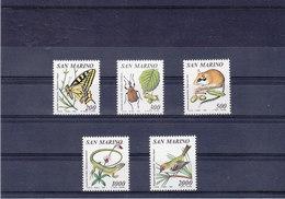 SAINT MARIN 1990 PAPILLONS Yvert 1252-1256 NEUF** MNH - Saint-Marin