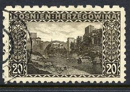BOSNIA & HERZEGOVINA 1906 20 H. Perforated 6½:9¼:9¼:6½  Used. Michel 35G, SG 192G - Bosnia Erzegovina