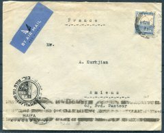 1937 Palestine 'Orient Stamp Company' Advertising Cover, Airmail - Amiens, France. Loterie Nationale - Palestine