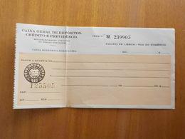 Cx5) Portugal Cheque  CAIXA GERAL DEPÓSITOS CRÉDITO E PREVIDENCIA 1956 - Cheques & Traveler's Cheques