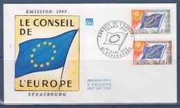 = UNESCO Enveloppe 1er Jour N°S31 Et S35 Strasbourg Le 22 Mars 1969 Conseil De L'Europe - UNESCO