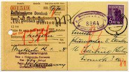 ALLIIERTE BESETZUNG 1948, Nr 943 EF AUF SCHECKFORMULAR, RAIFFEISENKASSE DONSBACH - Zone AAS