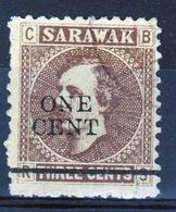 Sarawak 1892 Single One Cent Overprinted On Three Cent Brown/yellow Stamp. - Sarawak (...-1963)