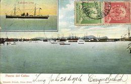 Peru, CALLAO, Puerto, Cañonera Lima (1904) Postcard - Peru