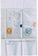 France 1854 N° 9 Superbe Sur Lettre Càd Paris 4/10/1854 Lettre Entière Rare Cachet Bleu Au Verso - 1852 Louis-Napoleon