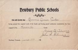 Newbury Public Schools School Certificate - Vermont - June 1910 - Emma Currier Tucker - Diploma & School Reports